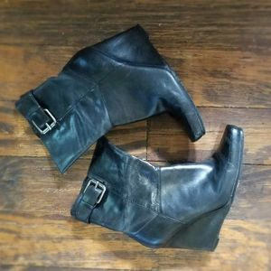Black nine west wedge ankle boots
